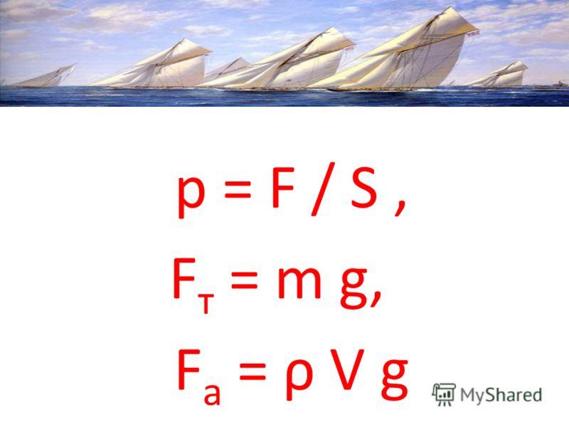 p = F / S, F т = m g, F а = ρ V g