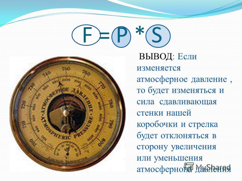 F = P * SF = P * S ВЫВОД: Если изменяется атмосферное давление, то будет изменяться и сила сдавливающая стенки нашей коробочки и стрелка будет отклоняться в сторону увеличения или уменьшения атмосферного давления