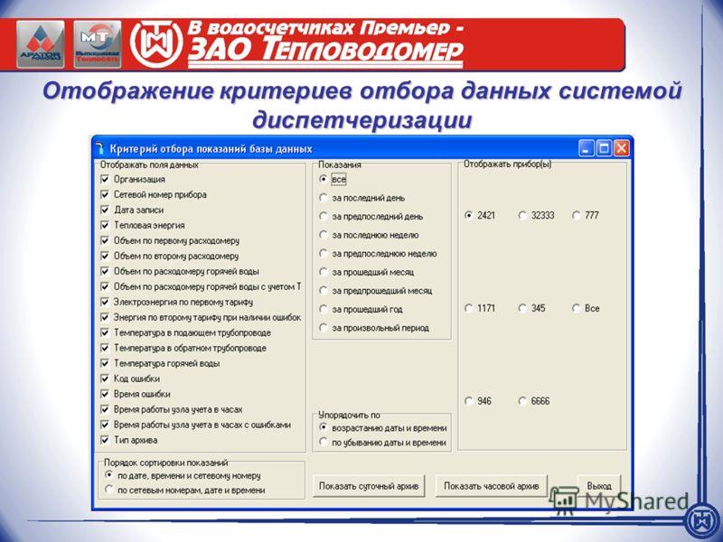 Отображение критериев отбора данных системой диспетчеризации
