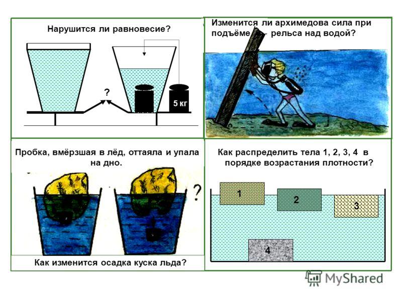 Как распределить тела 1, 2, 3, 4 в порядке возрастания плотности? 1 2 3 Изменится ли архимедова сила при подъёме рельса над водой? Как изменится осадка куска льда? Пробка, вмёрзшая в лёд, оттаяла и упала на дно. 5 кг ? Нарушится ли равновесие? 4