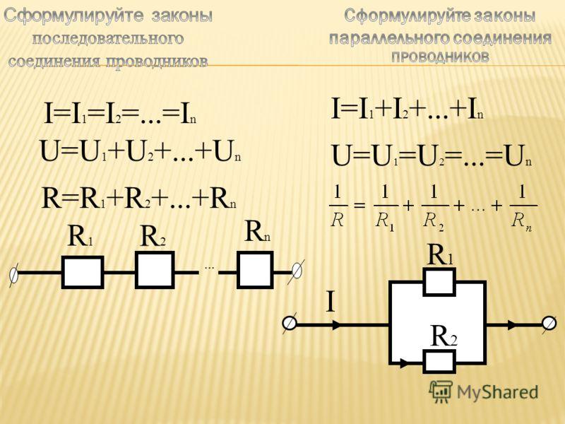 I=I 1 =I 2 =...=I n U=U 1 +U 2 +...+U n R=R 1 +R 2 +...+R n... R1R1 R2R2 RnRn I=I 1 +I 2 +...+I n U=U 1 =U 2 =...=U n R2R2 I R1R1