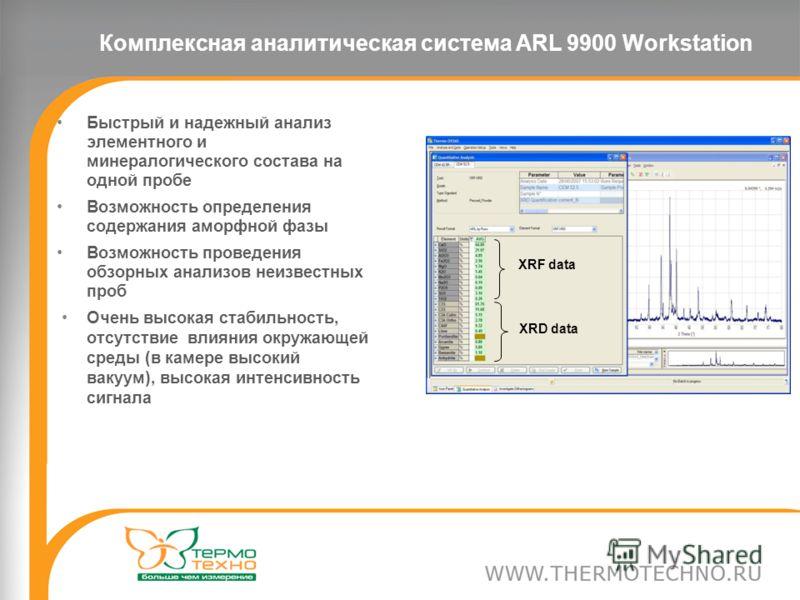 Комплексная аналитическая система ARL 9900 Workstation Быстрый и надежный анализ элементного и минералогического состава на одной пробе Возможность определения содержания аморфной фазы Возможность проведения обзорных анализов неизвестных проб Очень в