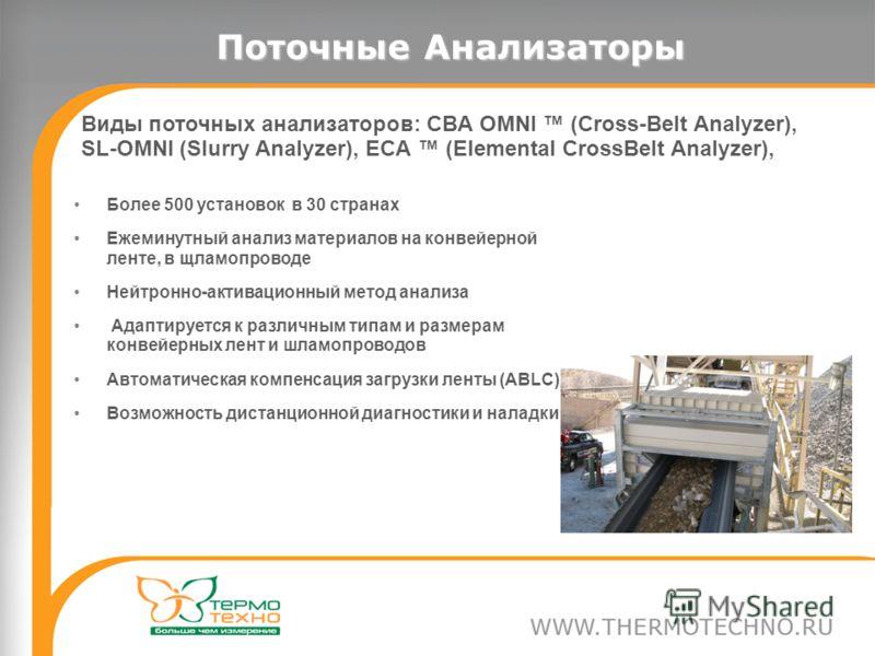Поточные Анализаторы Виды поточных анализаторов: CBA OMNI (Cross-Belt Analyzer), SL-OMNI (Slurry Analyzer), ECA (Elemental CrossBelt Analyzer), Более 500 установок в 30 странах Ежеминутный анализ материалов на конвейерной ленте, в щламопроводе Нейтро