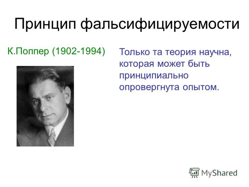 Принцип фальсифицируемости К.Поппер (1902-1994) Только та теория научна, которая может быть принципиально опровергнута опытом.
