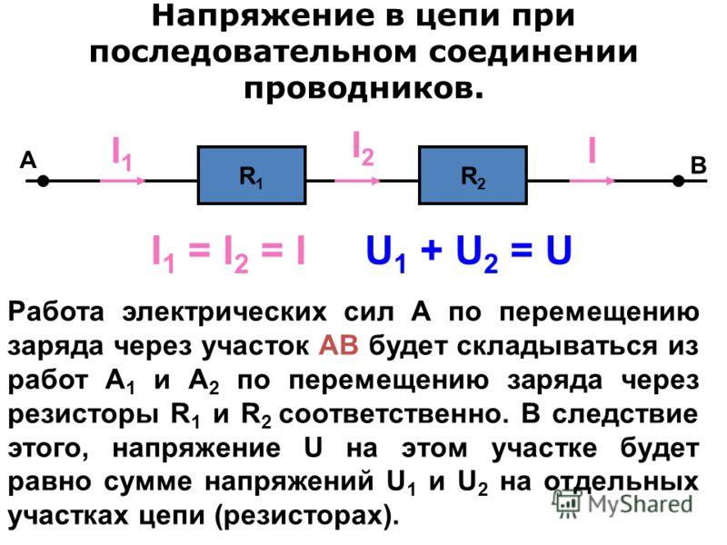 Сила тока в цепи при последовательном соединении проводников. A R1R1 R2R2 I1I1 I2I2 I B I 1 = I 2 = I При последовательном соединении один резистор следует за другим и, следовательно, все заряды, проходящие через первый из них, непременно проходят и