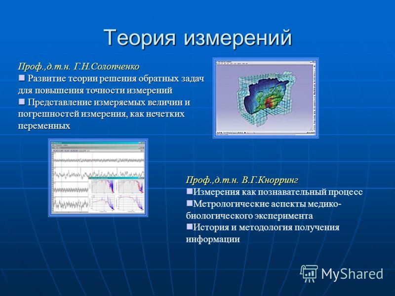 Теория измерений Проф.,д.т.н. Г.Н.Солопченко Развитие теории решения обратных задач для повышения точности измерений Развитие теории решения обратных задач для повышения точности измерений Представление измеряемых величин и погрешностей измерения, ка
