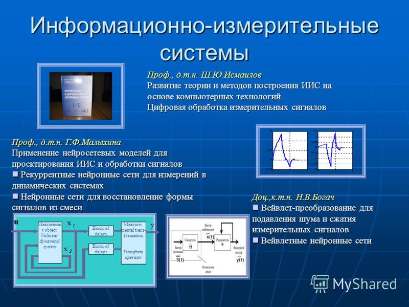 Информационно-измерительные системы Проф., д.т.н. Г.Ф.Малыхина Применение нейросетевых моделей для проектирования ИИС и обработки сигналов Рекуррентные нейронные сети для измерений в динамических системах Рекуррентные нейронные сети для измерений в д