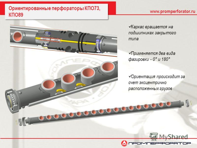 www.promperforator.ru Ориентированные перфораторы КПО73, КПО89 Каркас вращается на подшипниках закрытого типа Ориентация происходит за счет эксцентрично расположенных грузов Применяется два вида фазировки - 0° и 180°