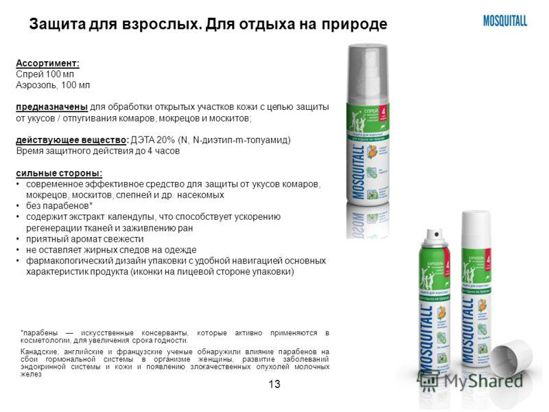 13 Ассортимент: Спрей 100 мл Аэрозоль, 100 мл предназначены для обработки открытых участков кожи с целью защиты от укусов / отпугивания комаров, мокрецов и москитов; действующее вещество: ДЭТА 20% (N, N-диэтил-m-толуамид) Время защитного действия до