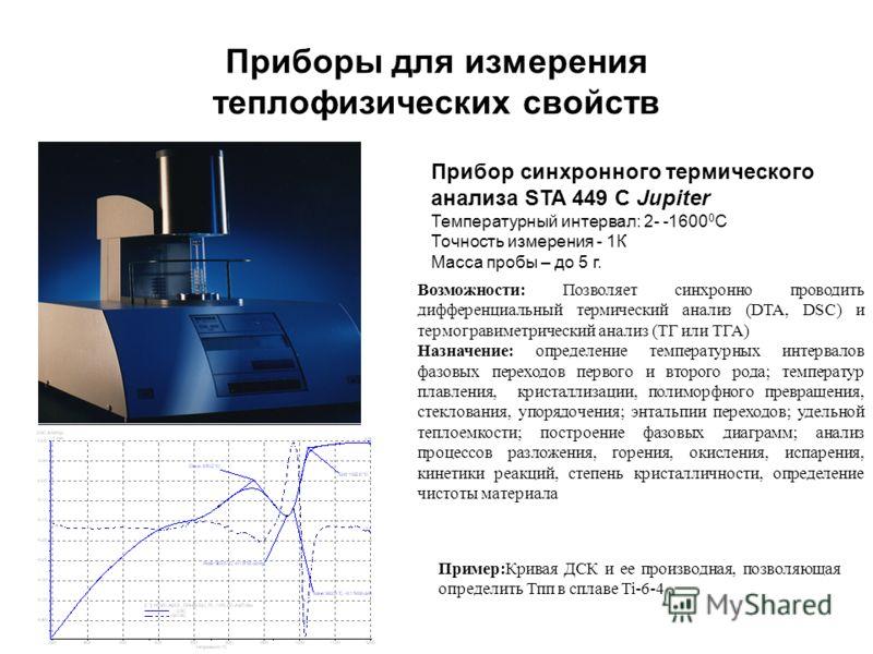 Приборы для измерения теплофизических свойств Прибор синхронного термического анализа STA 449 C Jupiter Температурный интервал: 2- -1600 0 С Точность измерения - 1К Масса пробы – до 5 г. Возможности: Позволяет синхронно проводить дифференциальный тер