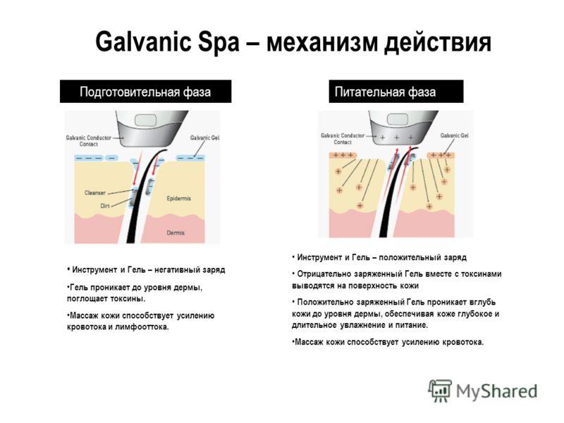 Подготовительная фаза Инструмент и Гель – негативный заряд Гель проникает до уровня дермы, поглощает токсины. Массаж кожи способствует усилению кровотока и лимфооттока. Питательная фаза Инструмент и Гель – положительный заряд Отрицательно заряженный