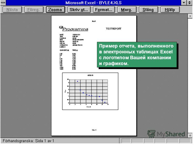 Пример отчета, выполненного в электронных таблицах Excel с логотипом Вашей компании и графиком. Пример отчета, выполненного в электронных таблицах Excel с логотипом Вашей компании и графиком.