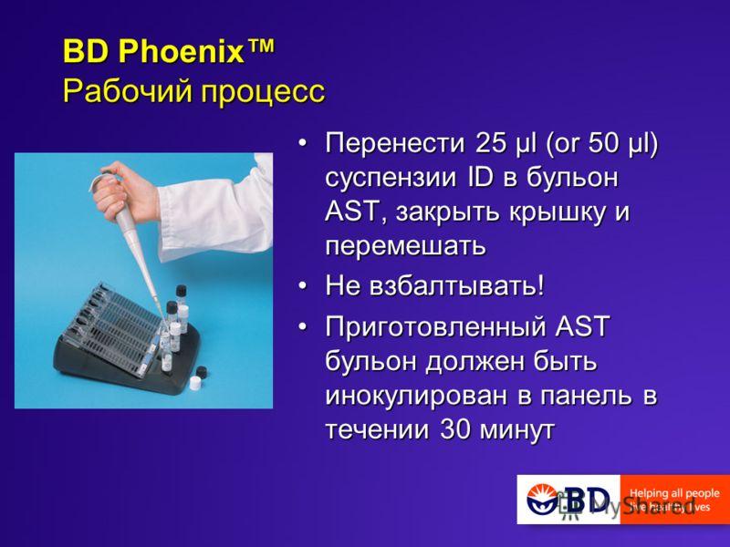 Перенести 25 µl (or 50 µl) суспензии ID в бульон AST, закрыть крышку и перемешатьПеренести 25 µl (or 50 µl) суспензии ID в бульон AST, закрыть крышку и перемешать Не взбалтывать!Не взбалтывать! Приготовленный AST бульон должен быть инокулирован в пан