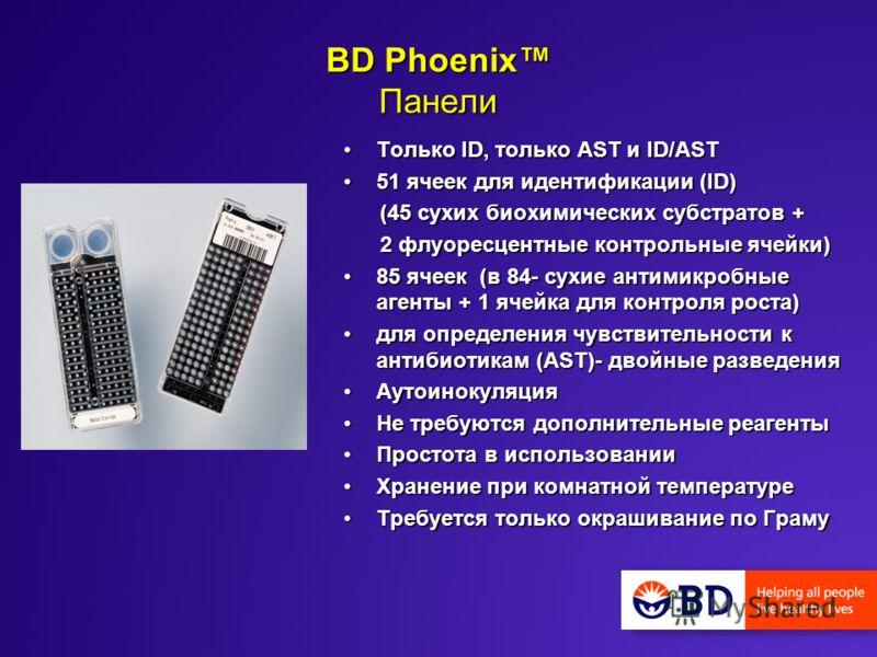 BD Phoenix Панели Только ID, только AST и ID/ASTТолько ID, только AST и ID/AST 51 ячеек для идентификации (ID)51 ячеек для идентификации (ID) (45 сухих биохимических субстратов + (45 сухих биохимических субстратов + 2 флуоресцентные контрольные ячейк