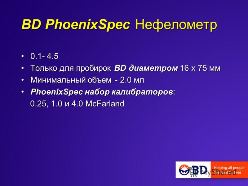 BD PhoenixSpec Нефелометр 0.1- 4.50.1- 4.5 Только для пробирок BD диаметром 16 x 75 ммТолько для пробирок BD диаметром 16 x 75 мм Минимальный объем - 2.0 млМинимальный объем - 2.0 мл PhoenixSpec набор калибраторов:PhoenixSpec набор калибраторов: 0.25