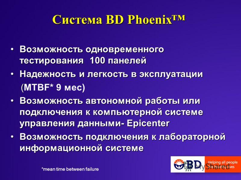 Система BD Phoenix Возможность одновременного тестирования 100 панелейВозможность одновременного тестирования 100 панелей Надежность и легкость в эксплуатацииНадежность и легкость в эксплуатации ( (MTBF* 9 мес) Возможность автономной работы или подкл