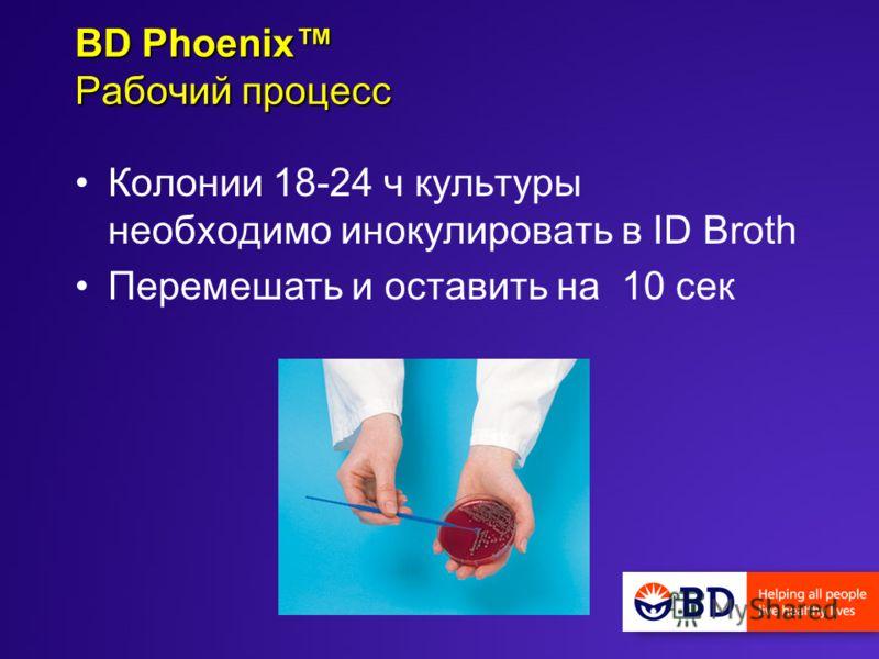 Колонии 18-24 ч культуры необходимо инокулировать в ID Broth Перемешать и оставить на 10 сек BD Phoenix Рабочий процесс