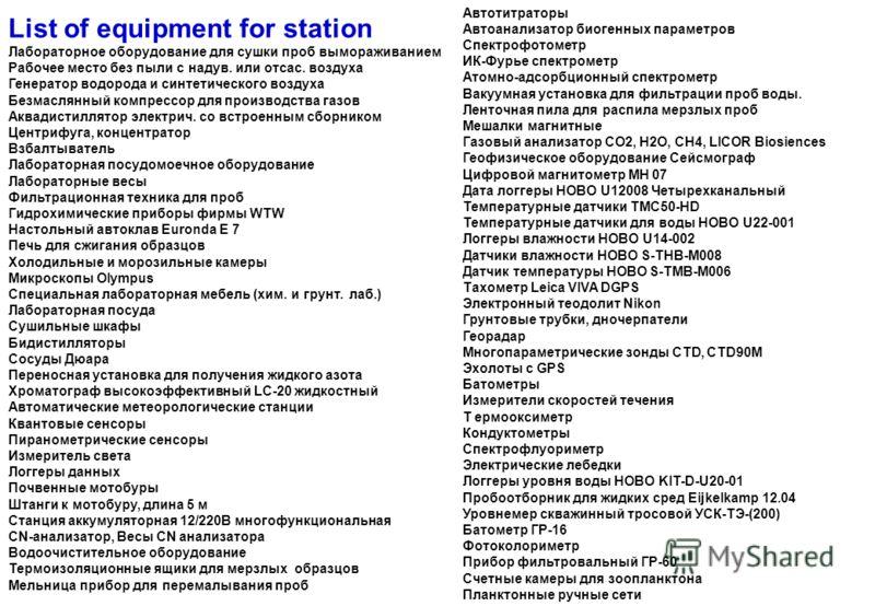 List of equipment for station Лабораторное оборудование для сушки проб вымораживанием Рабочее место без пыли с надув. или отсас. воздуха Генератор водорода и синтетического воздуха Безмаслянный компрессор для производства газов Аквадистиллятор электр