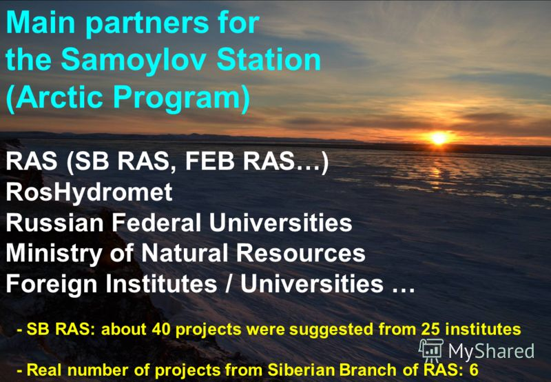Main partners for the Samoylov Station (Arctic Program) RAS (SB RAS, FEB RAS…) RosHydromet Russian Federal Universities Ministry of Natural Resources Foreign Institutes / Universities … - SB RAS: about 40 projects were suggested from 25 institutes -