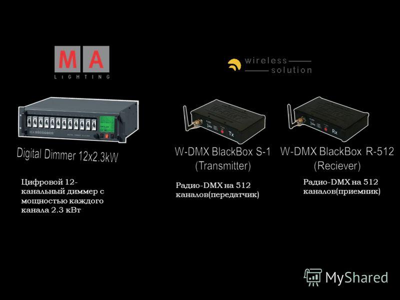 Цифровой 12- канальный диммер с мощностью каждого канала 2.3 кВт Радио-DMX на 512 каналов(передатчик) Радио-DMX на 512 каналов(приемник)