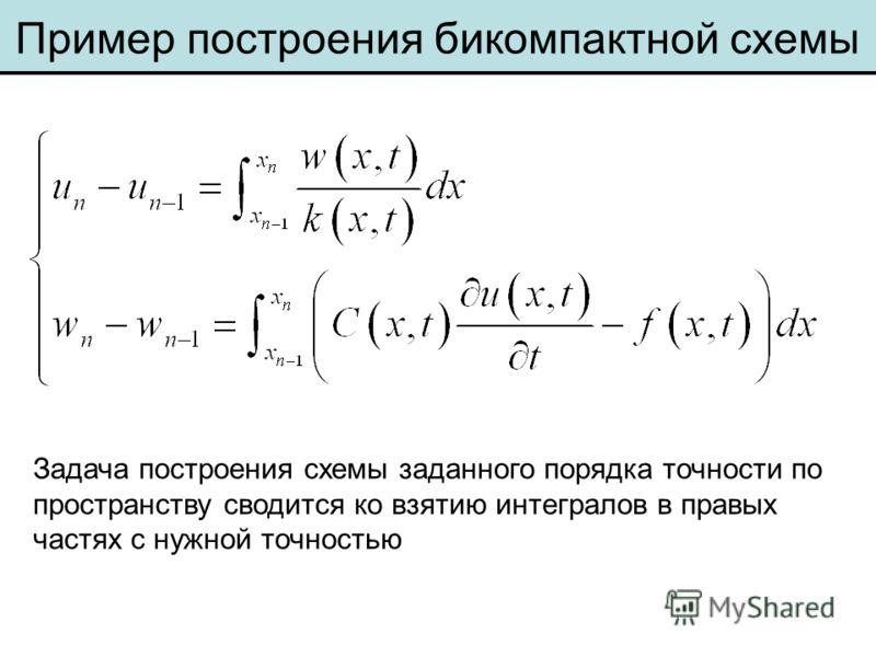 Пример построения бикомпактной схемы Задача построения схемы заданного порядка точности по пространству сводится ко взятию интегралов в правых частях с нужной точностью