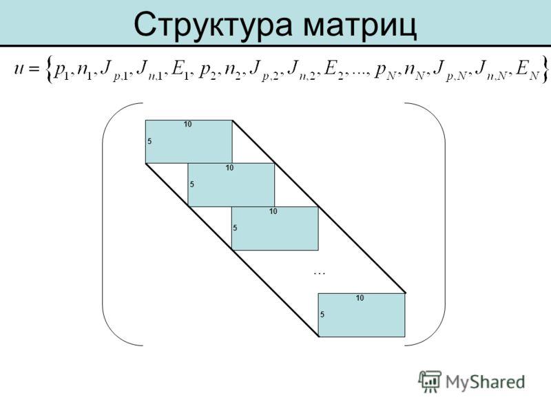 Структура матриц 10 5 5 5 5 …