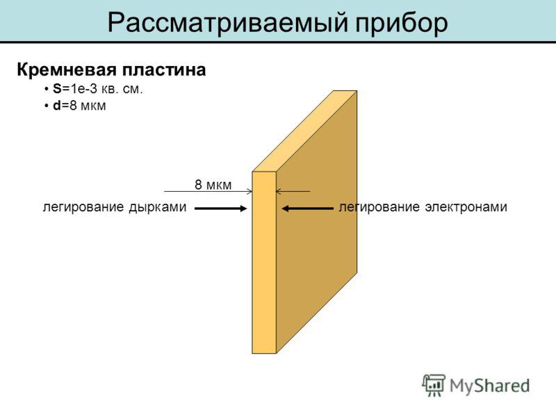 Кремневая пластина S=1e-3 кв. см. d=8 мкм Рассматриваемый прибор 8 мкм легирование электронамилегирование дырками
