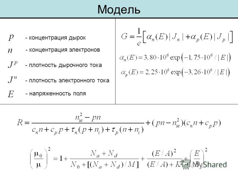 Модель - концентрация дырок - концентрация электронов - плотность дырочного тока - плотность электронного тока - напряженность поля