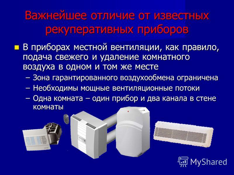 Важнейшее отличие от известных рекуперативных приборов В приборах местной вентиляции, как правило, подача свежего и удаление комнатного воздуха в одном и том же месте В приборах местной вентиляции, как правило, подача свежего и удаление комнатного во