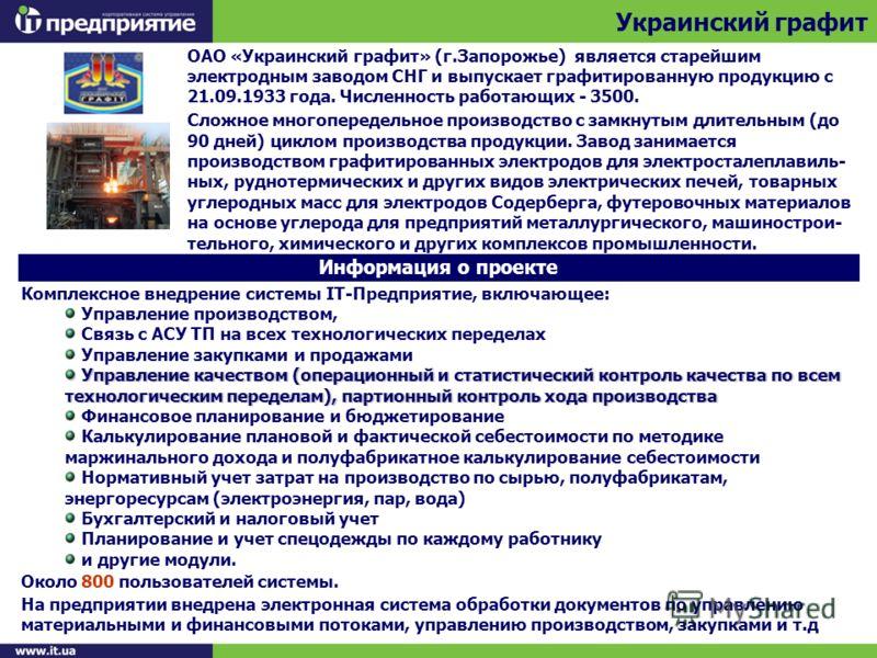 Украинский графит Информация о проекте ОАО «Украинский графит» (г.Запорожье) является старейшим электродным заводом СНГ и выпускает графитированную продукцию с 21.09.1933 года. Численность работающих - 3500. Сложное многопередельное производство с за