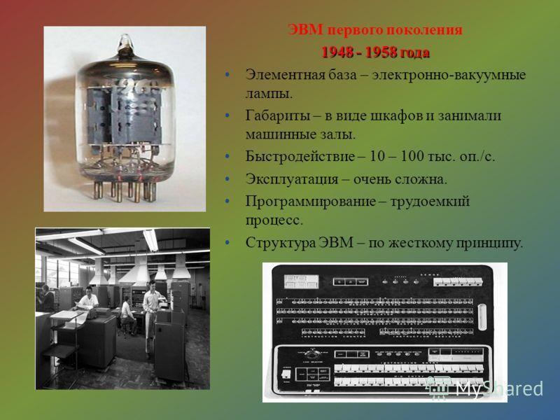 ЭВМ первого поколения 1948 - 1958 года Элементная база – электронно-вакуумные лампы. Габариты – в виде шкафов и занимали машинные залы. Быстродействие – 10 – 100 тыс. оп./с. Эксплуатация – очень сложна. Программирование – трудоемкий процесс. Структур
