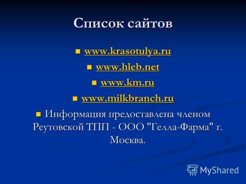 Список сайтов www.krasotulya.ru www.krasotulya.ru www.krasotulya.ru www.hleb.net www.hleb.net www.hleb.net www.km.ru www.km.ru www.km.ru www.milkbranch.ru www.milkbranch.ru www.milkbranch.ru Информация предоставлена членом Реутовской ТПП - ООО