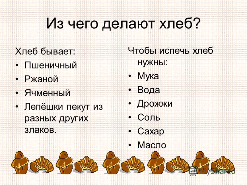 Из чего делают хлеб? Хлеб бывает: Пшеничный Ржаной Ячменный Лепёшки пекут из разных других злаков. Чтобы испечь хлеб нужны: Мука Вода Дрожжи Соль Сахар Масло