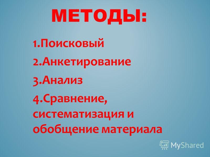 1.Поисковый 2.Анкетирование 3.Анализ 4.Сравнение, систематизация и обобщение материала МЕТОДЫ: