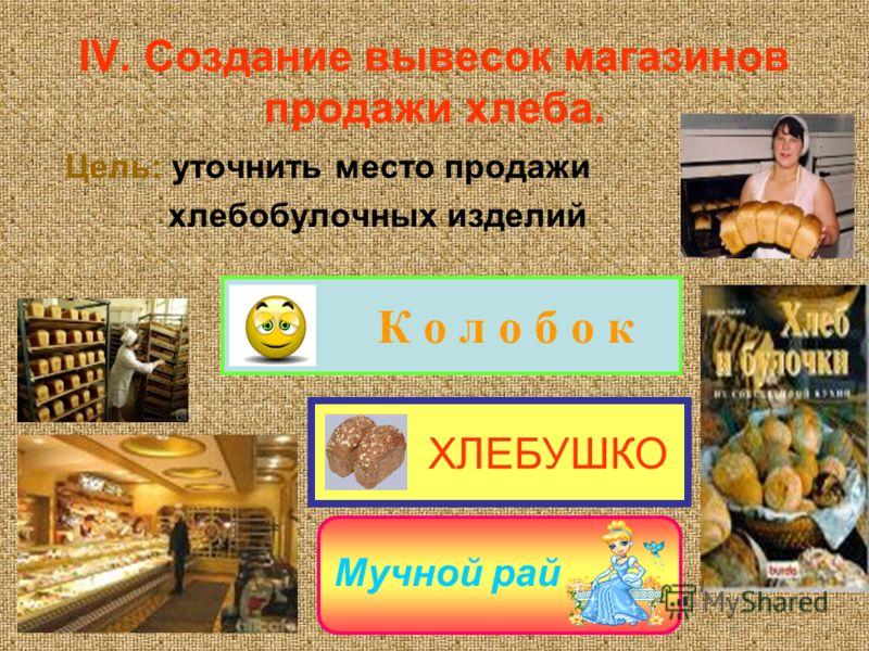 IV. Создание вывесок магазинов продажи хлеба. Цель: уточнить место продажи хлебобулочных изделий ХЛЕБУШКО К о л о б о к Мучной рай