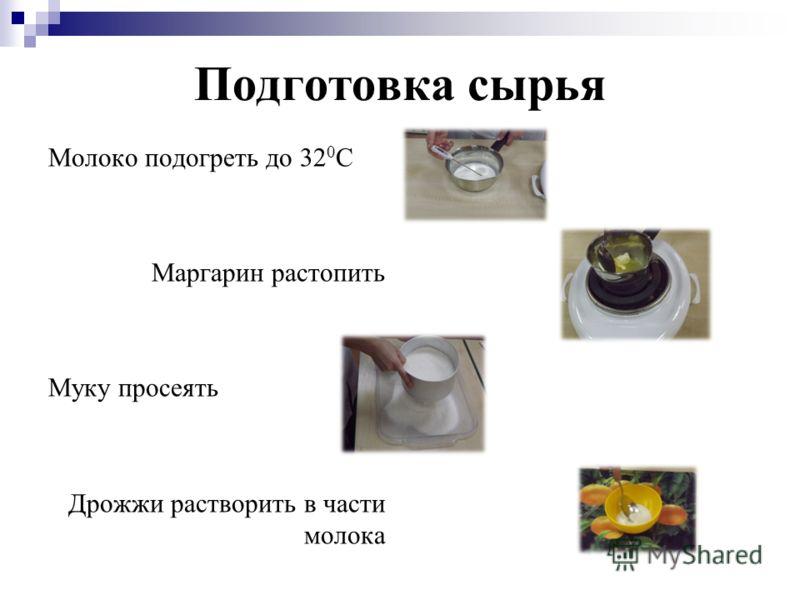 Подготовка сырья Молоко подогреть до 32 0 С Маргарин растопить Муку просеять Дрожжи растворить в части молока