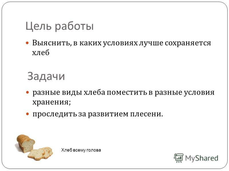 Цель работы Выяснить, в каких условиях лучше сохраняется хлеб Хлеб всему голова Задачи разные виды хлеба поместить в разные условия хранения; проследить за развитием плесени.