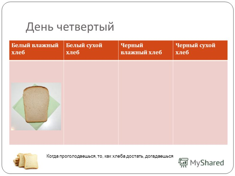 День четвертый Белый влажный хлеб Белый сухой хлеб Черный влажный хлеб Черный сухой хлеб Когда проголодаешься, то, как хлеба достать, догадаешься
