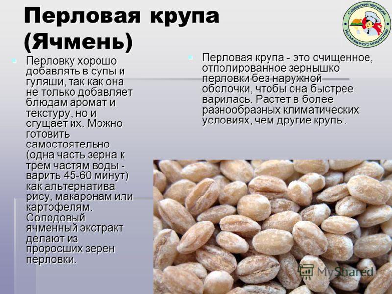 Перловая крупа (Ячмень) Перловая крупа - это очищенное, отполированное зернышко перловки без наружной оболочки, чтобы она быстрее варилась. Растет в более разнообразных климатических условиях, чем другие крупы. Перловая крупа - это очищенное, отполир