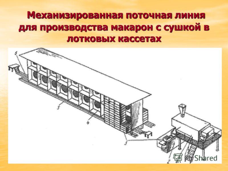 Механизированная поточная линия для производства макарон с сушкой в лотковых кассетах Механизированная поточная линия для производства макарон с сушкой в лотковых кассетах