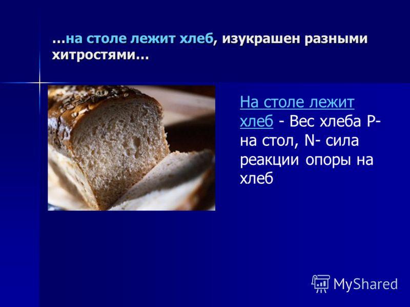 …на столе лежит хлеб, изукрашен разными хитростями… На столе лежит хлеб - Вес хлеба P- на стол, N- cила реакции опоры на хлеб