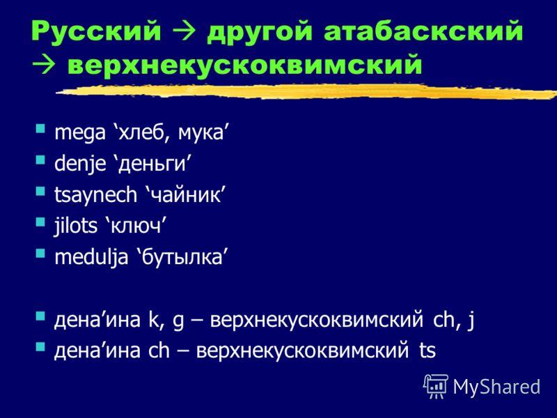 Русский другой атабаскский верхнекускоквимский mega хлеб, мука denje деньги tsaynech чайник jilots ключ medulja бутылка денаина k, g – верхнекускоквимский ch, j денаина ch – верхнекускоквимский ts