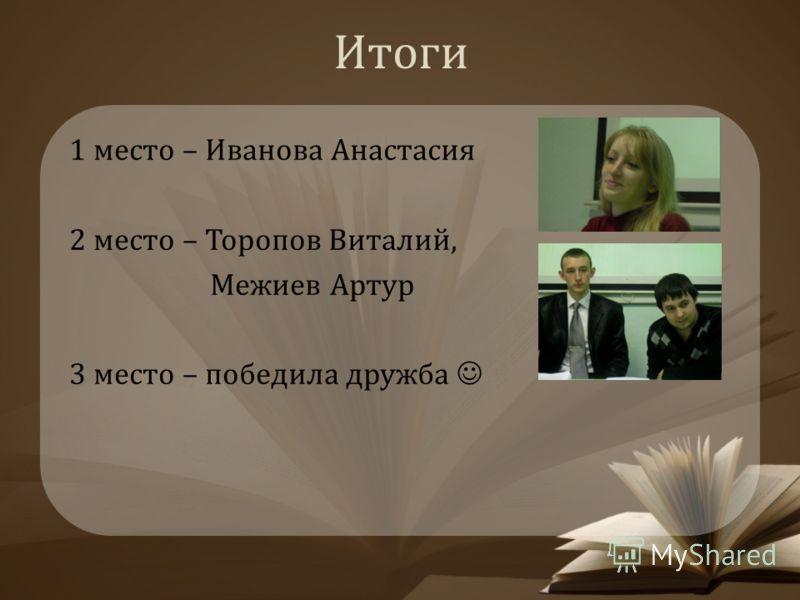 Итоги 1 место – Иванова Анастасия 2 место – Торопов Виталий, Межиев Артур 3 место – победила дружба