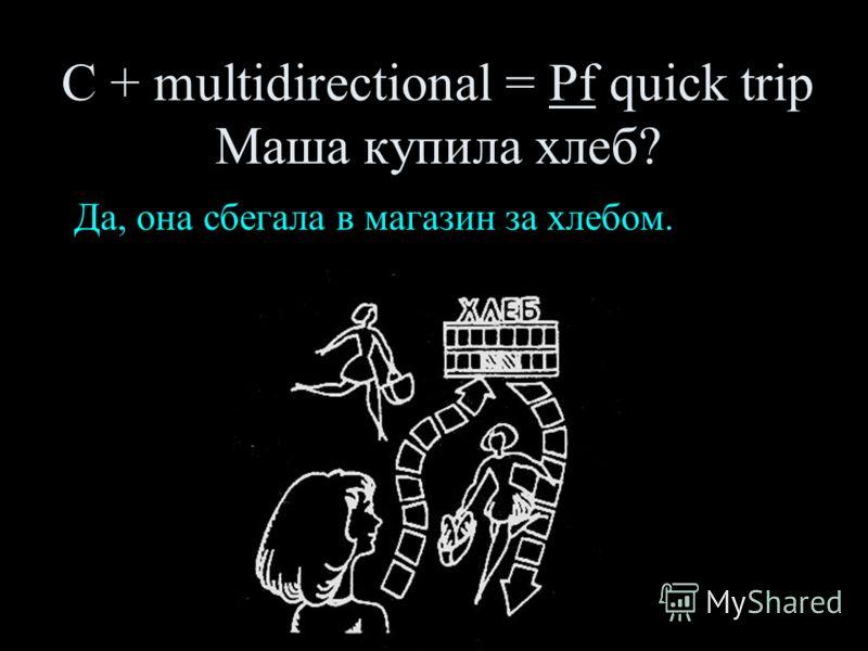 С + multidirectional = Pf quick trip Маша купила хлеб? Да, она сбегала в магазин за хлебом.