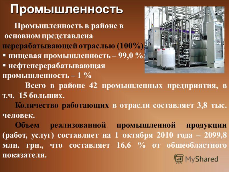 Промышленность в районе в основном представлена перерабатывающей отраслью (100%), в т.ч. пищевая промышленность – 99,0 %; нефтеперерабатывающая промышленность – 1 % Всего в районе 42 промышленных предприятия, в т.ч. 15 больших. Количество работающих