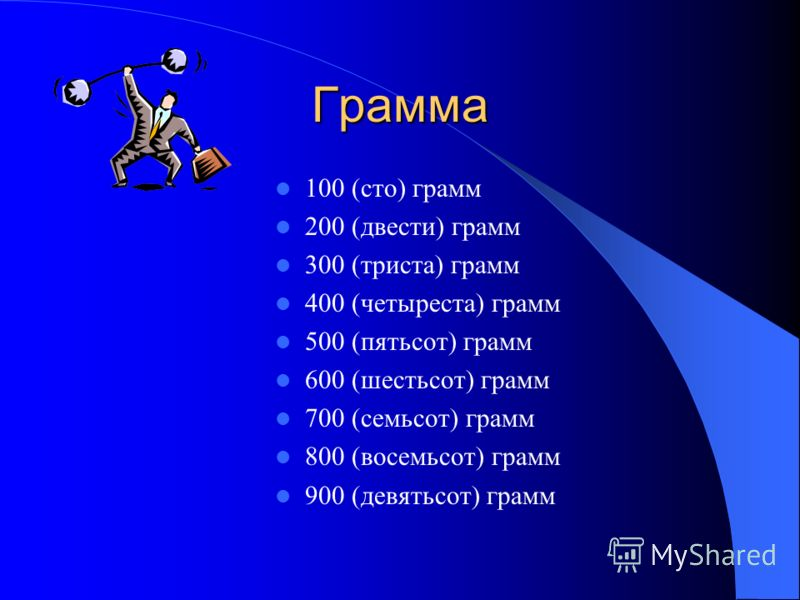 Грамма 100 (сто) грамм 200 (двести) грамм 300 (триста) грамм 400 (четыреста) грамм 500 (пятьсот) грамм 600 (шестьсот) грамм 700 (семьсот) грамм 800 (восемьсот) грамм 900 (девятьсот) грамм