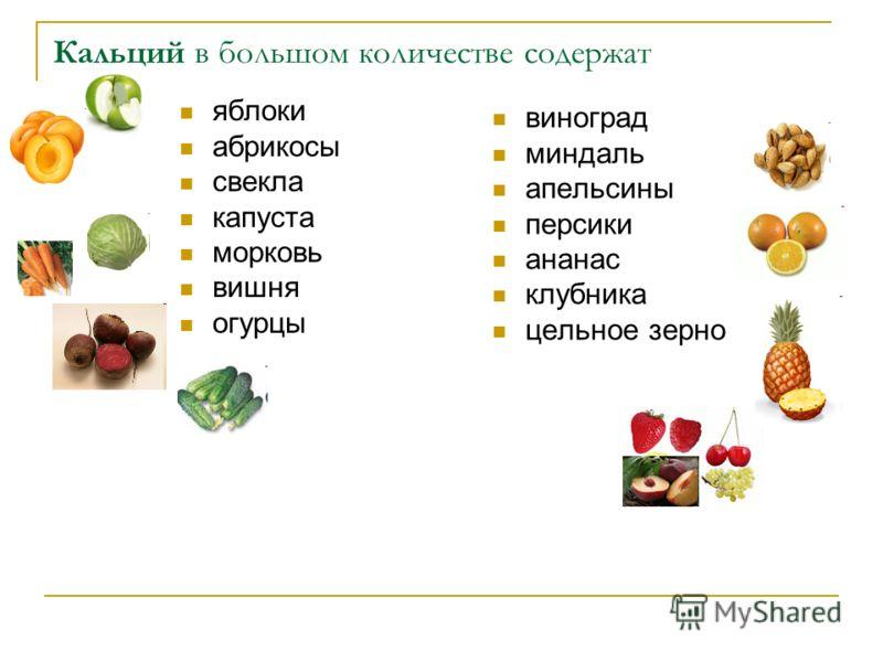 Кальций в большом количестве содержат яблоки абрикосы свекла капуста морковь вишня огурцы виноград миндаль апельсины персики ананас клубника цельное зерно