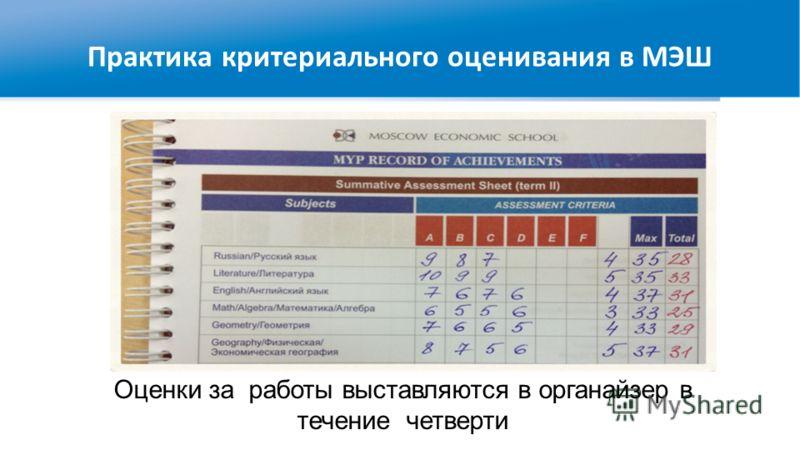 Оценки за работы выставляются в органайзер в течение четверти Практика критериального оценивания в МЭШ