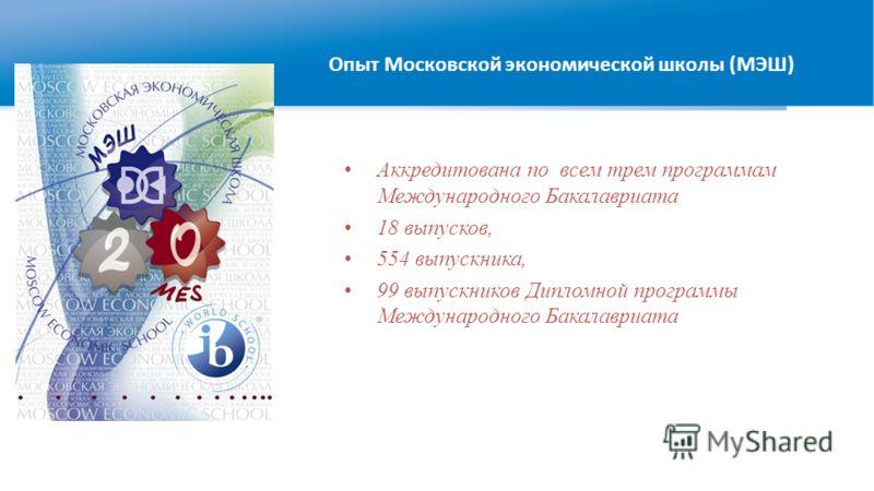 Аккредитована по всем трем программам Международного Бакалавриата 18 выпусков, 554 выпускника, 99 выпускников Дипломной программы Международного Бакалавриата Опыт Московской экономической школы (МЭШ)
