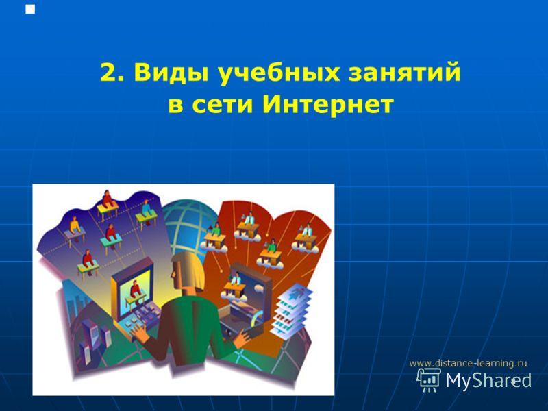 8 2. Виды учебных занятий в сети Интернет www.distance-learning.ru